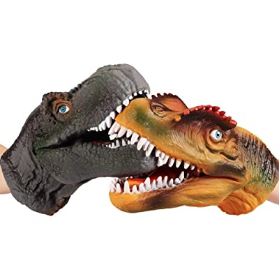 Heilsa 2Pcs Dinosaur Hand Puppet,Soft Rubber Realistic Tyrannosaurus and Spinosaurus Head Hand Puppet Toy for Kids : Baby