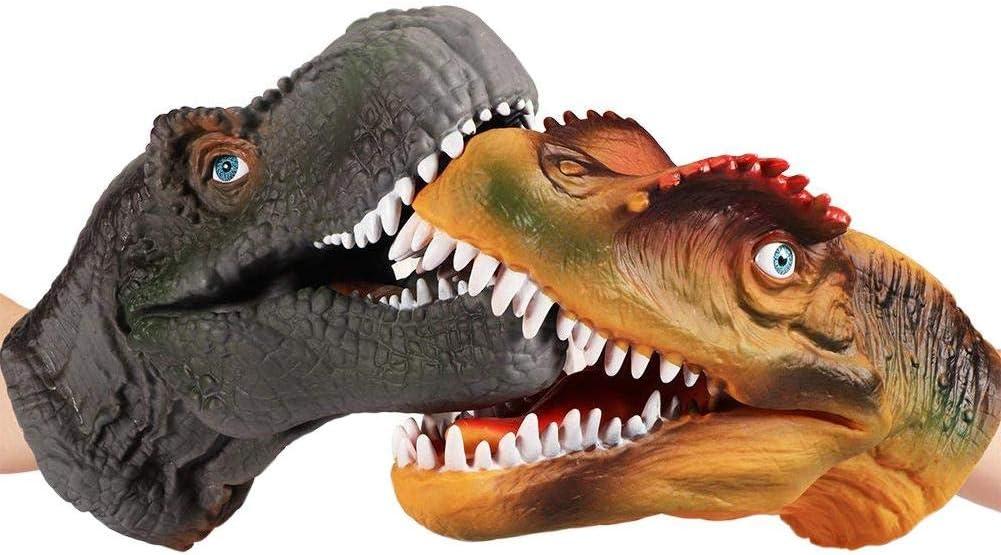 ParZ 2 UNIDS Juego de Marionetas de Mano de Dinosaurio Guantes de Dinosaurio de Goma Suave Juguetes Juguetes de Halloween para Niños