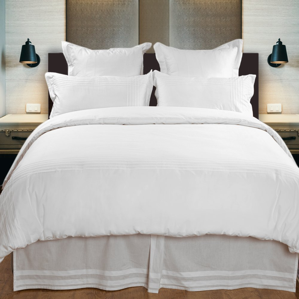 Hotel Collection Chester 100% Egyptian Cotton Percale Duvet Cover Set Of 3,Queen Size, Off-White By Cambay Linens