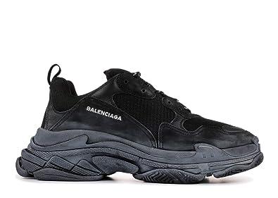 88f7fde2612d2 Balenciaga Unisex Triple S Mesh Nubuck Leather Platform Sneakers Fashion  Vintage Trainers Black (Black,