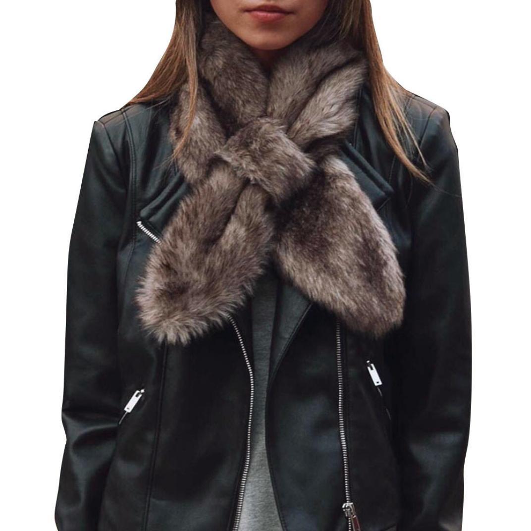 Bomdes Women Scarf Warm Faux Fur Scarves Soft Neckerchief Short Scarf Hao Tech