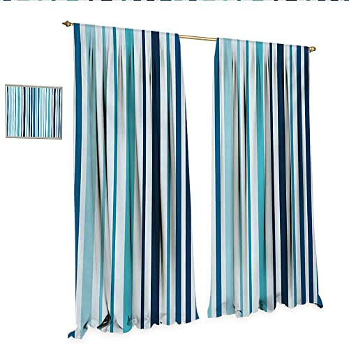 Abstract Decor Curtains by Vertical Striped Pastel Toned Color Bands Lines Background Nautical Design Patterned Drape for Glass Door W72 x L84 Sky and Dark Blue.jpg