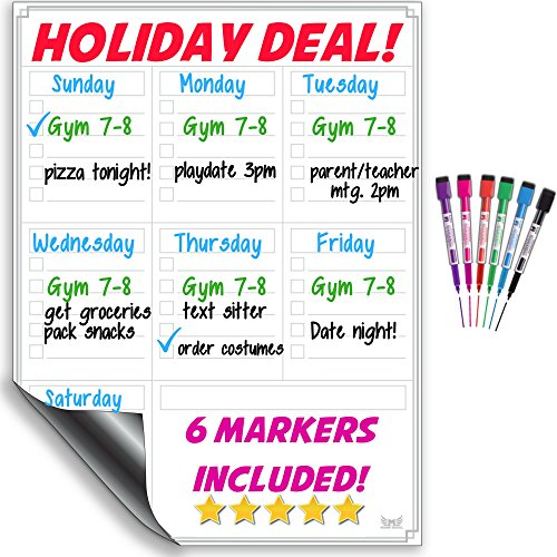 Christmas Gift For Your Crush - Dry Erase White Board / Magnetic Multi-Purpose Weekly Calendar Organizer For Refrigerator