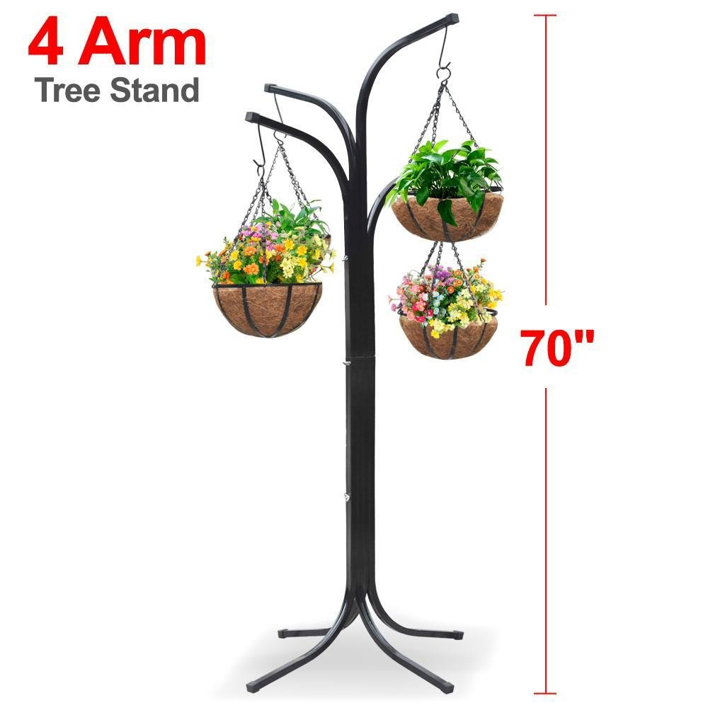 World Pride 4 Basket Arm Tree Cascade Hanging Patio Stand Garden Plant Patio New Planter