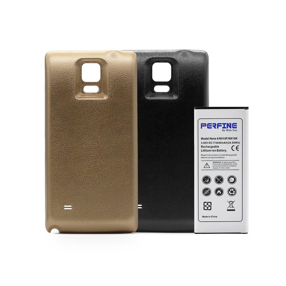 Perfine Galaxy Note4 6440mAh Batería Extendida con NFC para N910F / N910H Batería de Repuesto con 2 Carcasa Trasera (Negro-Oro)