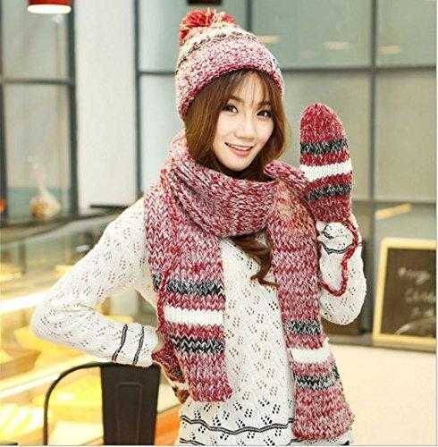 Hiver épaississement chaude tricot trois pièces gant foulard chapeau , 3