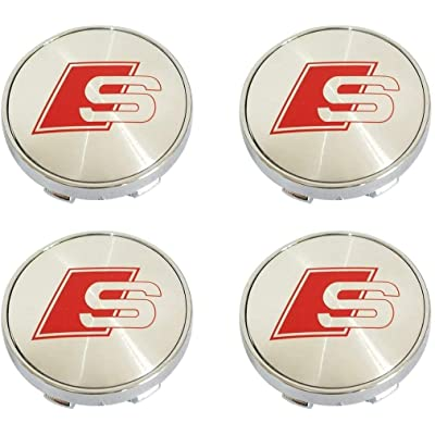 4PCS S-line Logo Emblem Badge Sticker Wheel Centre Hub Caps Cover +1 Set Metal Car Wheel Tire Valve Stem Caps with Key Chain Combination Set for Audi Sline. (Sliver): Automotive