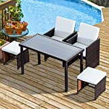 Outsunny 5 PCs Rattan Dining Set Garden Furniture Wicker Weave Sofa Dining Chair Table Cushioned 1 x Table + 2 x Single Chair + 2 x Footrest Space-saving (Brown)
