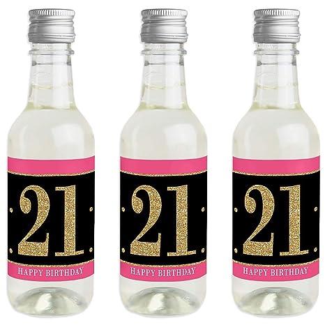 Amazon.com: Finally 21 niñas – 21 cumpleaños – Mini vino y ...