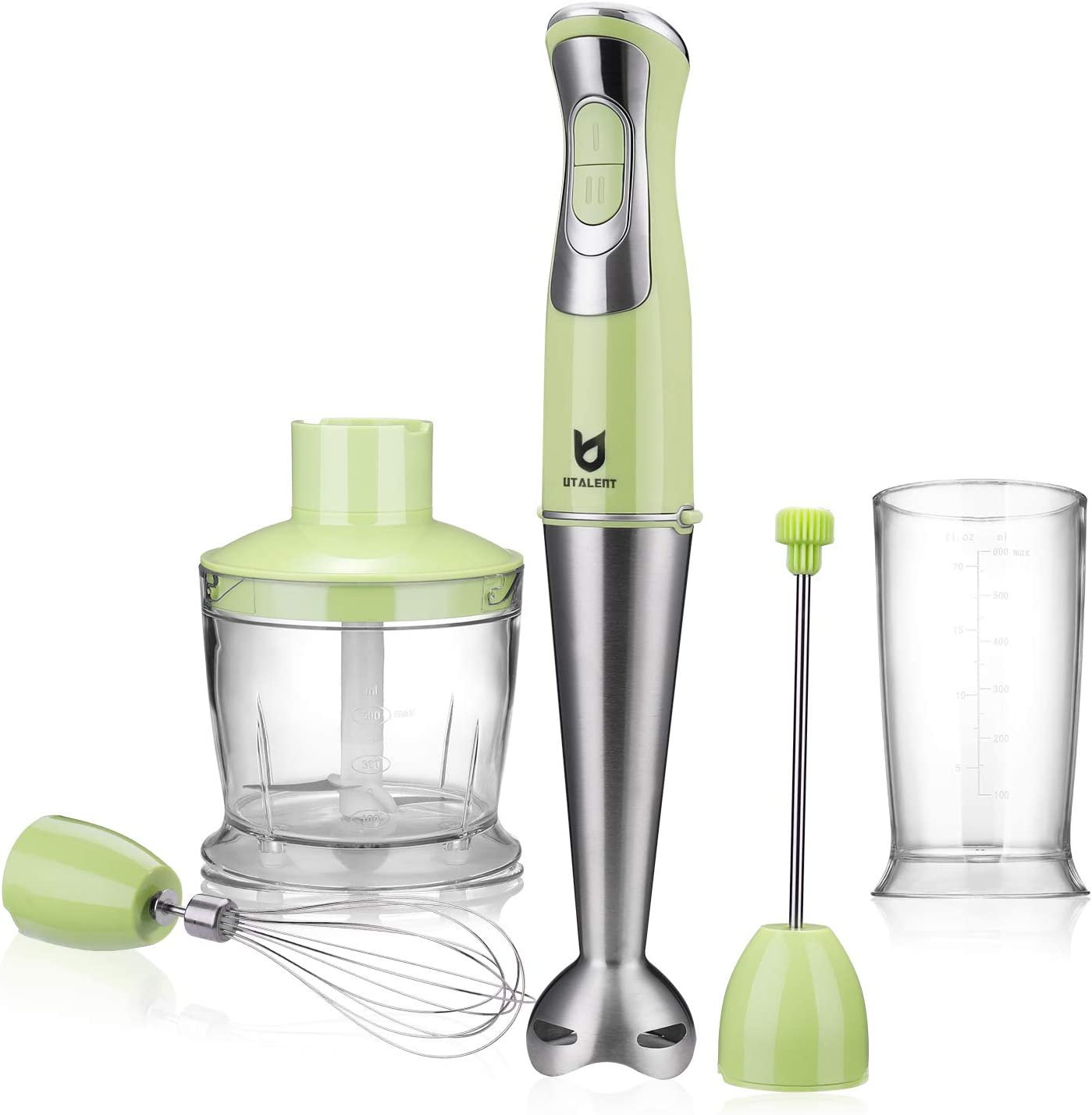 Immersion Hand Blender, Utalent 5-in-1 8-Speed Stick Blender with 500ml Food Grinder, BPA-Free, 600ml Container, Milk Frother, Egg Whisk, Puree Infant Food, Smoothies, Sauces and Soups - Green: Kitchen & Dining