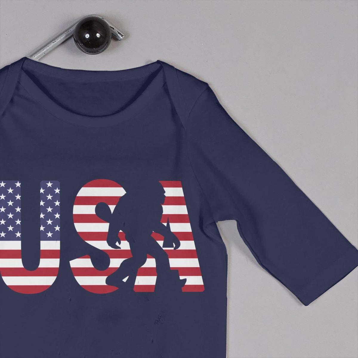 TYLER DEAN Toddler Baby Boy Girl Coverall Patriotic Bigfoot American Flag Kid Pajamas