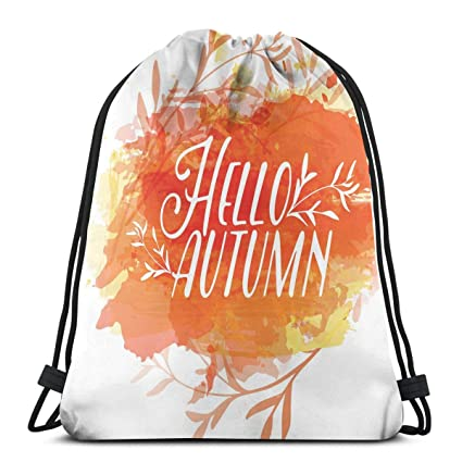 f8a5125e0c2b Amazon.com | Printed Drawstring Backpacks Bags, Autumn Inspiration ...