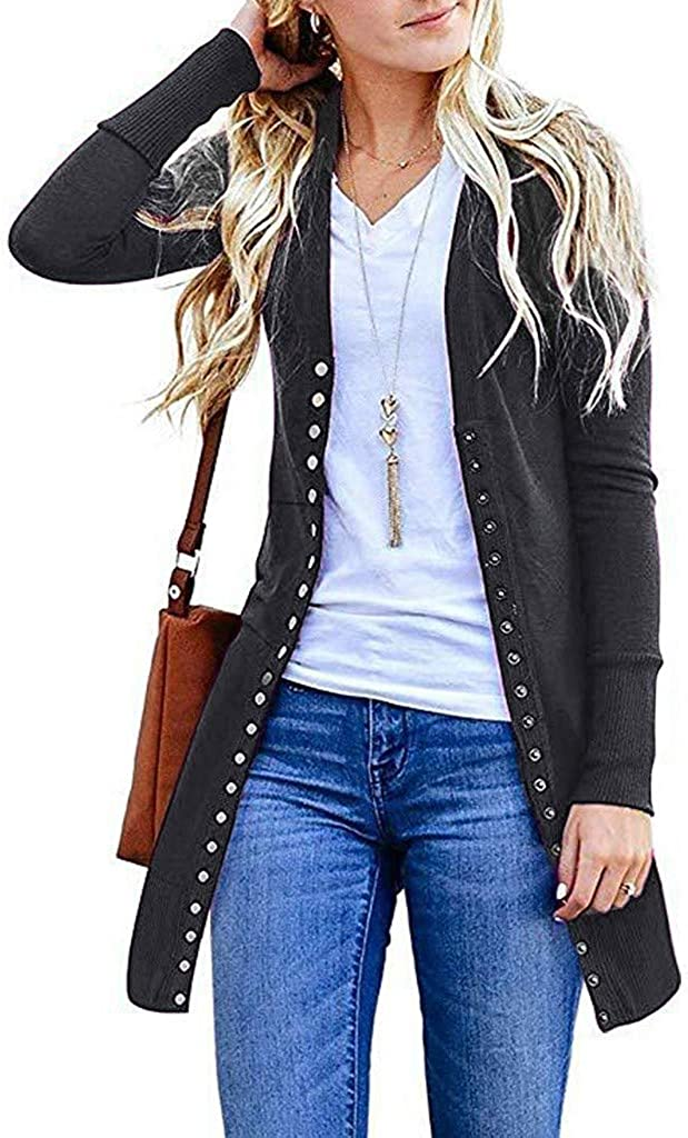 Cardigan Sweaters for Women Fashion Solid Color Basic Long Sleeve Snap Button Knit Ribbed Neckline Sweater Jacket Coat