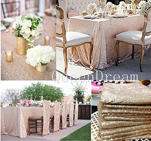 "QueenDream 60""x120"" wedding sequin table cloth rectangular champagne cheap tablecloths"