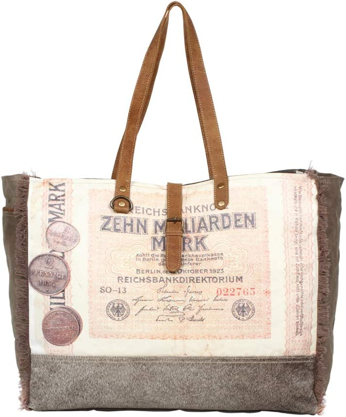 Myra Bag Berlin Emporium Upcycled Canvas /& Cowhide Leather Weekender S-1278