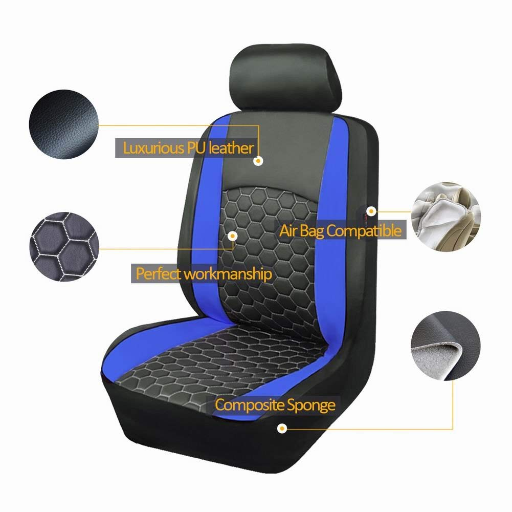 Flying Banner 11 PCS Full Set Universal Car Seat Covers Blue Color Faux Leather Polyester Double Sponge Heavy Duty Mesh Cushioned fit Car Truck Van SUV