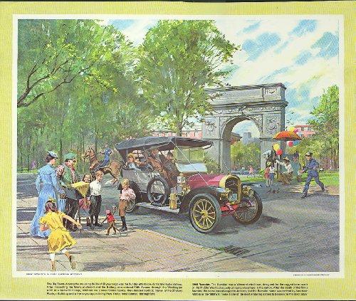 1908 Rambler Touring Washington Sq NYC Humble Oil calendar print 1960s (Bases Touring)