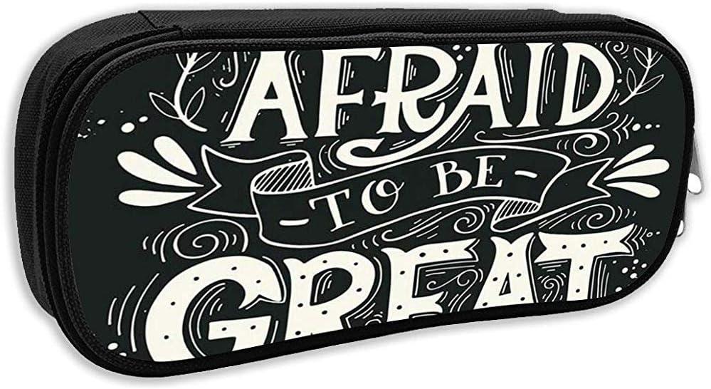 Estuche para lápices escolares, diciendo: No tengas miedo a una gran cita Vintage con letras a mano y bolsa de papelería de oficina: Amazon.es: Oficina y papelería