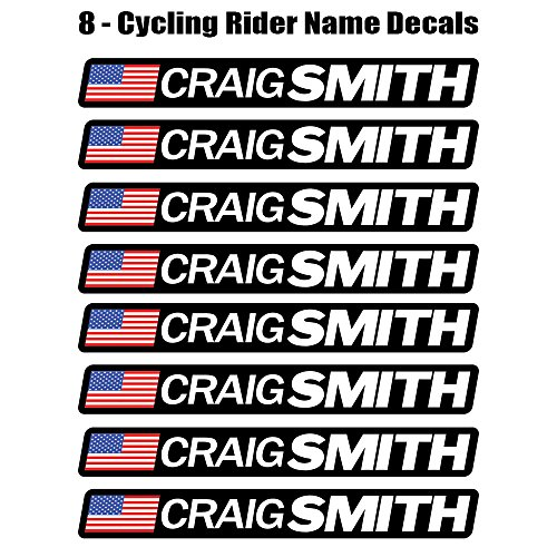 8 piece Custom Bicycle Frame Name USA Decal Sticker Set - road bike cycling mountain bike - Benjamin Style