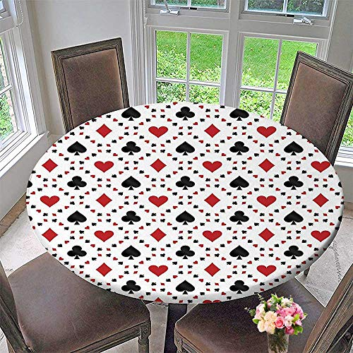 Mikihome Circular Table Cover Poker Cards Advertising Holidays Getaways Tourist Destinations Pleasure for Wedding/Banquet 31.5