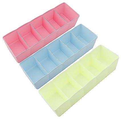House Of Quirk 5 Grid Plastic Storage Box Drawer Organizer (25 Cm X 9