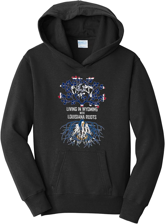 Tenacitee Girls Living in Wyoming with Louisiana Roots Hooded Sweatshirt