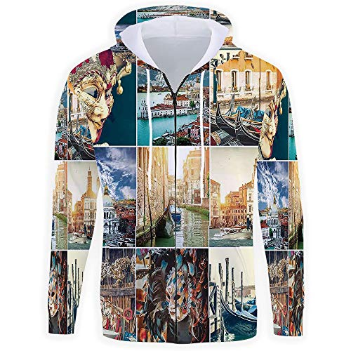 (iPrint Men's,Italian Zip Hoodie Sweatshirt)