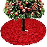 D-FantiX Red Christmas Tree Skirt, 48 Inches Large Ruffled Burlap Tree Skirt Christmas Decorations
