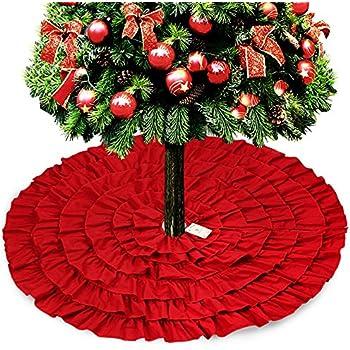 Amazon.com: Red Burlap Ruffled Xmas Christmas Tree Skirt 48 Inches ...