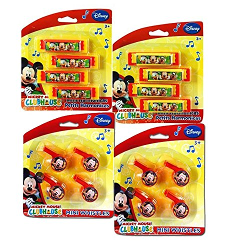 Disney Jr. Mickey Mouse Clubhouse Musical Treat Bag Party Favor Set! Featuring Mickey, Donald Duck & Goofy! Includes 8 Mini Harmonicas & 8 Mini (Harmonica Whistle)