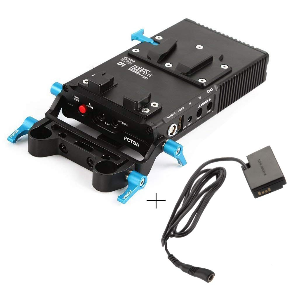 Fotga DP500 Mark III V-Mount V-Lock BP Battery Power Supply Plate with DR-E18 Dummy Battery Pack Adapter for Canon EOS 750D 760D 77D 800D DSLR Camera 15mm Rod Rig