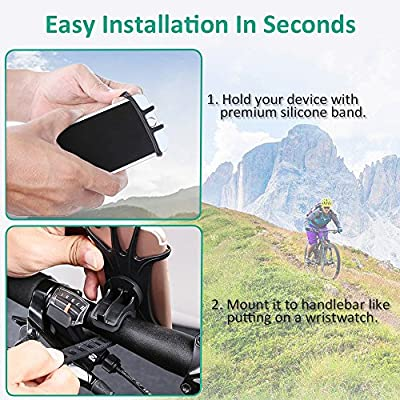 BOVON Bike Phone Mount, 360°Rotation Silicone Bicycle Phone Holder, Universal Motorcycle Handlebar Mount Fits for iPhone 11 Pro Max/XR/XS Max/8/7/ 6/6s Plus, Galaxy S20/S9, 4.0