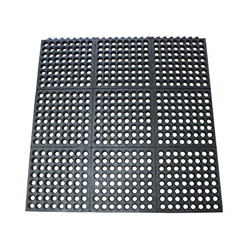 Rubber-Cal Dura-Chef Interlock Anti-Fatigue Mats - 5/8-inch x 3ft x 3ft - Black Rubber Matting ()