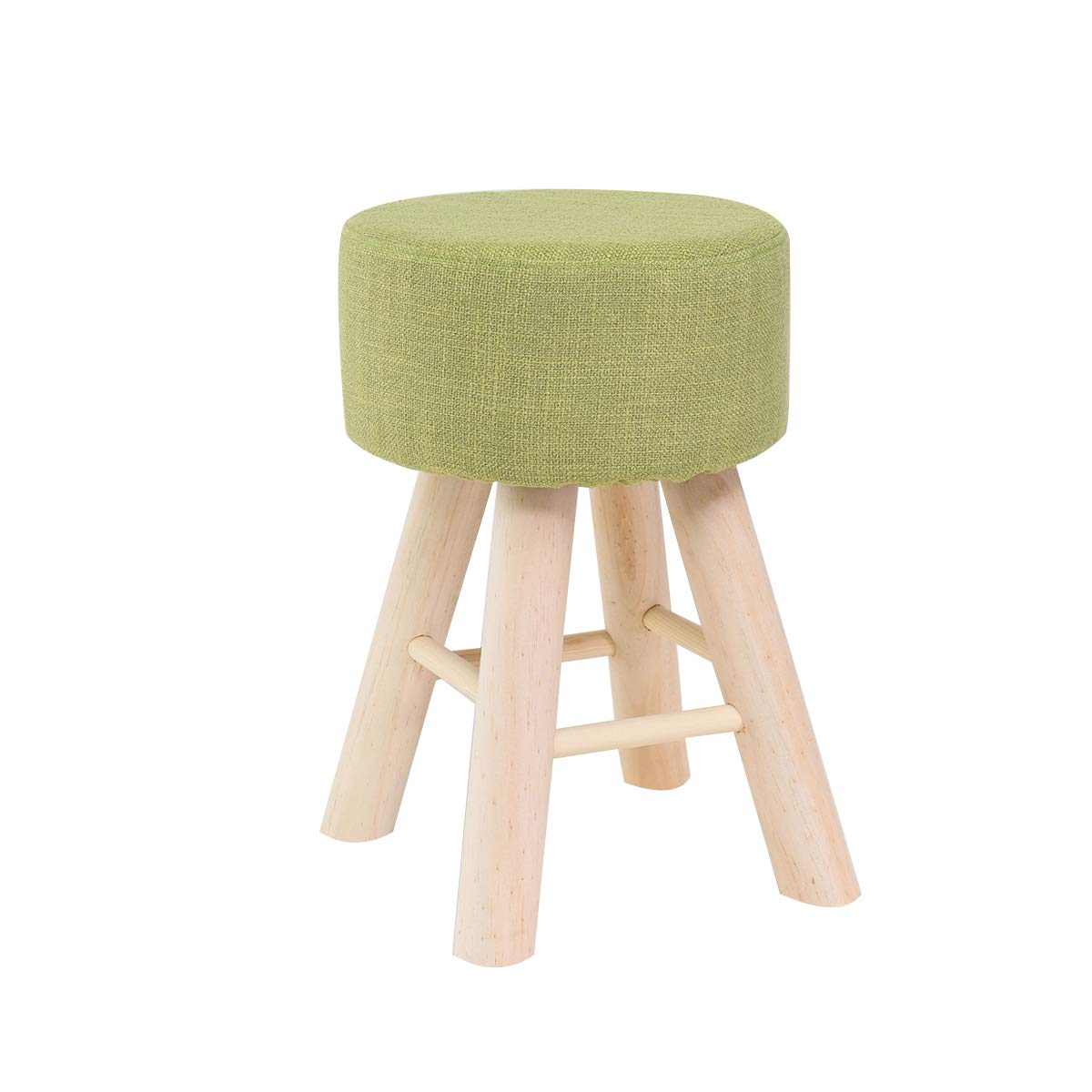 B Vanity Seat Stool Makeup Dressing Stool Solid Wood Small Stool Linen Change shoes Bench Living Room Kitchen Chair (Height 18.1in),b