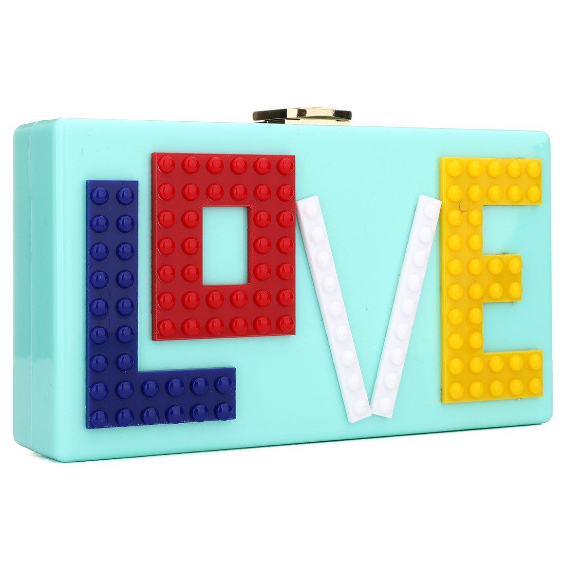 Love Acrylic Clutch Evening Bag Purse Handbag for Women Ladies Ideal Gift (Cyan)