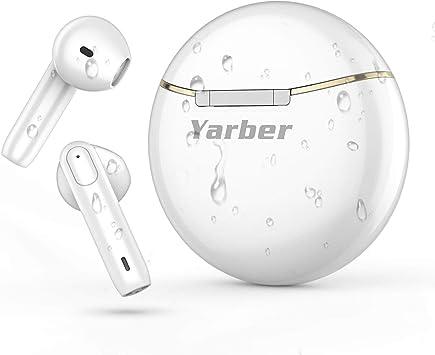 Yarber Auriculares Inalámbricos Bluetooth 5.0, Auriculares Bluetooth con Estuche de Carga Portátil, Reducción de Ruido, Control Táctil, IPX7 Impermeables Auriculares Deportivos para iPhone Android: Amazon.es: Electrónica