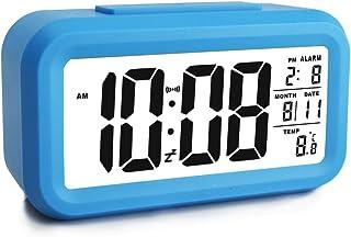 "Ewtto Smart Digital Desktop Alarm Clock Battery Operated 4.6"" Large Display with Temperature Calendar Backlight Snooze for Kids Women Men Teens(Blue)"