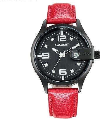 Reloj de Moda 6873 Sobreviviente Impermeable Redondo Dial Movimiento de Cuarzo Caja de aleación Relojes de Cuarzo con Banda de Cuero Ocasiones esquemáticas Reloj Ligero (Color : Rojo): Amazon.es: Relojes