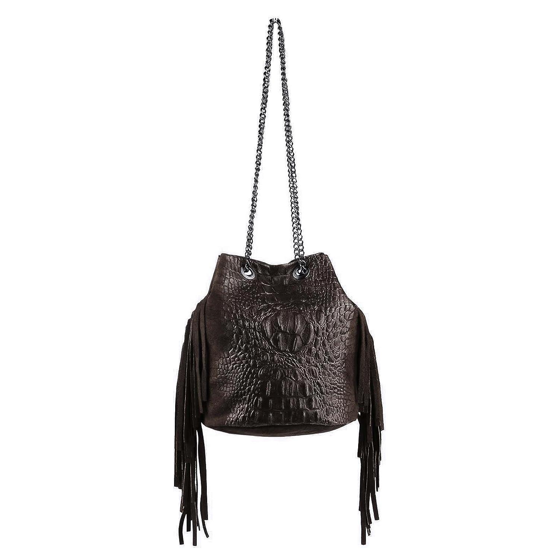 OBC Made in Italy Damen Tasche mit Kette/Kettentasche Fransen Wildleder Kroko Handtasche Umhngetasche Schultertasche