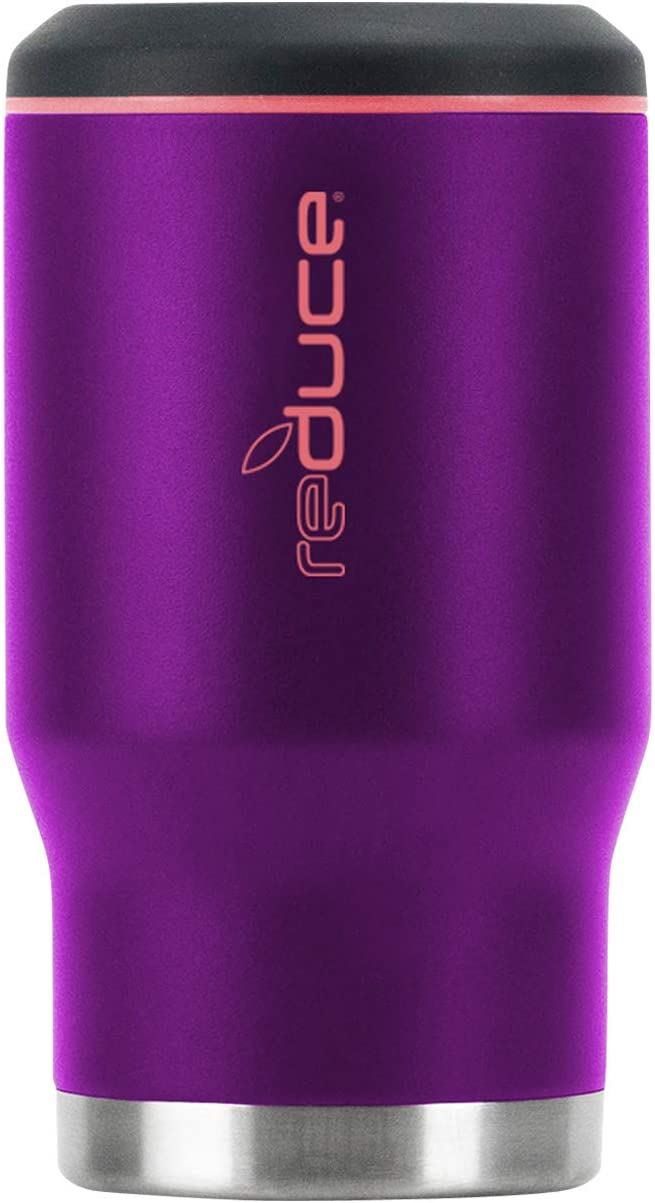 REDUCE 4-in-1 Stainless Steel Bottle and Can Insulator – This Drink Cooler Keeps Bottles, Cans, Skinny Cans and Mixed Drinks Ice Cold – Sweat-Free, Perfect for Outdoor Drinking – Purple Wave