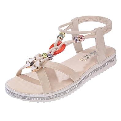Women's Flat Flip Sandal Roman Sandal Peep-Toe Low Beach Shoes For Women Teenagers Girls
