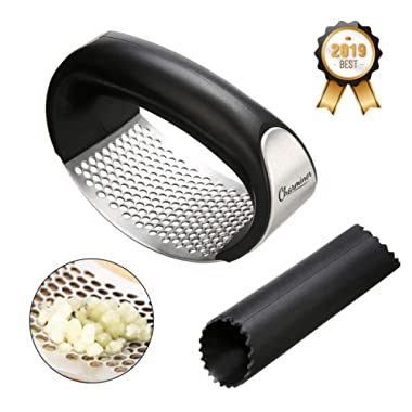 CHARMINER Stainless Steel Garlic Press Rocker, Garlic Crusher Squeezer with Comfortable Handle, Kitchen Gadget, Easy to Use and Clean