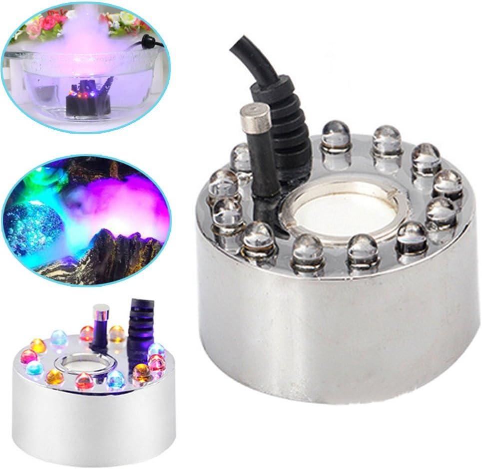 Espeedy 12 Leds Ultrasonic Mist Maker Fogger Water Fountain Pond Fog Machine Atomizer Air Humidifier