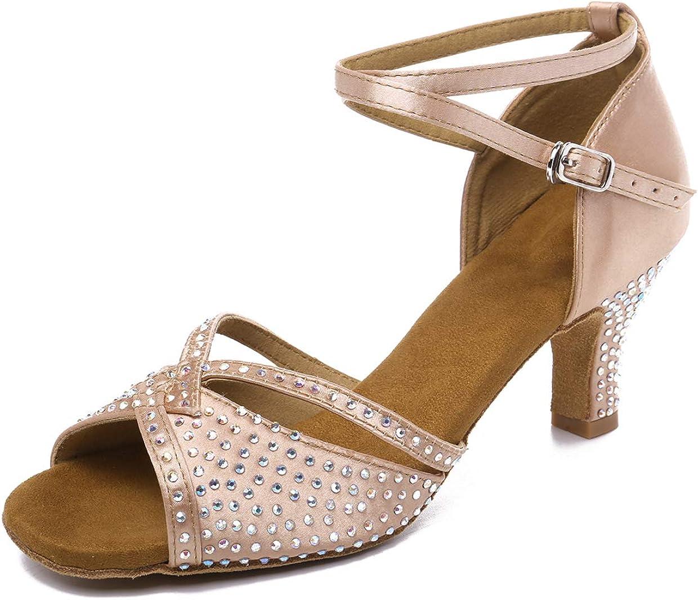 "JZNX Women's Professional Rhinestone Ballroom Dance Shoes Latin Salsa Performance Dance Shoes Wedding Dancing Shoes Z01(Nude-2.4"" Heel,8)"