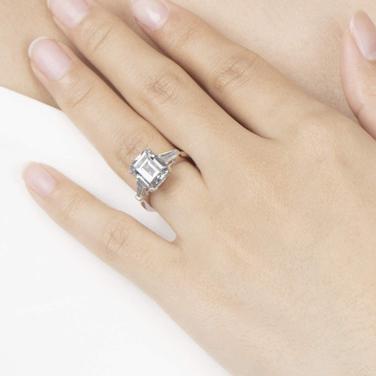 AINUOSHI 4 Carat// 3 Carat Emerald Cut Ring Baguette 3 Stones Cubic Zirconia CZ Engagement Sterling Silver Band Jewelry