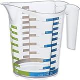 Rotho 1750610379 Messbecher DOMINO aus Kunststoff, Messkanne in transparent mit farbiger Skala, BPA frei, Inhalt 1 Liter, ca. 18,5 x 12,4 x 15,7 cm