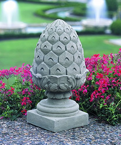 Finial Pineapple Outdoor (Campania International S-255-NA Longwood Pineapple Finial Statue, Natural Finish)
