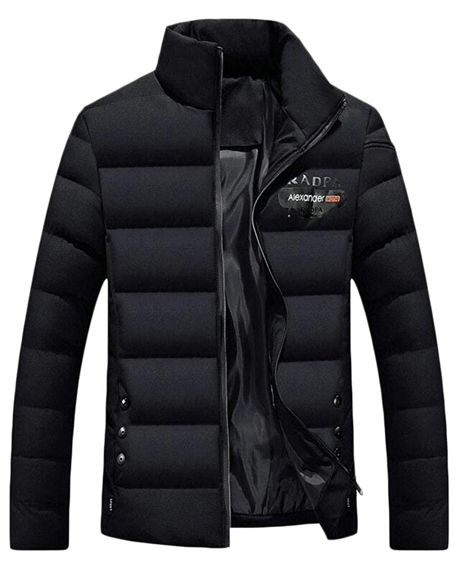 XiaoTianXinMen XTX Mens Stand Collar Winter Thicken Warm Zip Up Quilted Jacket Coat Outerwear