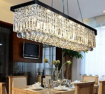 "7PM W40"" x D10"" Modern Rain Drop Rectangle Clear K9 Crystal Chandelier Pendant Lamp Lighting Fixture 8 Lights for Dining Living Bedroom Room (Black Frame)"
