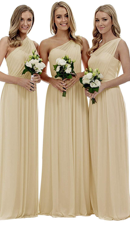 One Shoulder Champagne Bridesmaid Dresses